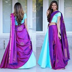 Sensational Lehenga Style Saree Designs For Brides To Flaunt At Their Nuptials! Lehenga Designs, Half Saree Designs, Saree Blouse Designs, Sari Blouse, Saree Dress, Dress Designs, Lehenga Saree Design, Lehenga Style Saree, Saree Look