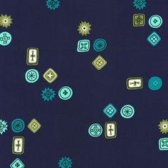 Homebody Button Jar in Navy, Kim Kight, Cotton+Steel, RJR Fabrics, 100% Cotton Fabric, 3001-002