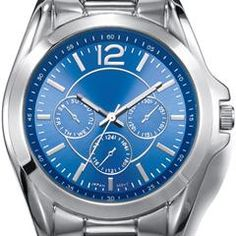 """Men's Metal-Link Watch Men's silvertone link watch with round face, metallic-look blue dial, and three faux chronographs. · Band:  8 1/4"""" L x 7/8"""" W with foldover clasp · Face:  1 5/16"""" without casing/ 1 9/16"""" with casing · Battery: Replaceable SR626SW · Movement: Quartz-PC21J · Imported"""