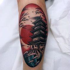 'Your Moment of Zen' American Trad. Style Japanese Pagoda by Natxo Suarez Irezumi Tattoos, Forearm Tattoos, Anime Tattoos, Cool Tattoos, Samurai Tattoo Sleeve, Tattoo Sleeves, Japanese Temple Tattoo, Scenery Tattoo, Japanese Pagoda
