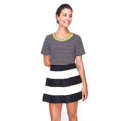 The Olivia skirt boasts a high waist and thick waistband that hits at a figure-slimming spot, while its bold black and white stripes are perfectly on-tr...
