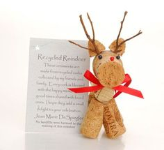 Cutest Cork Reindeer Ornaments I have ever seen to give you some new ideas for an adorable Christmas decoration. Wine Cork Art, Wine Cork Crafts, Bottle Crafts, Wine Corks, Wine Cork Ornaments, Xmas Ornaments, Christmas Decorations, Winter Christmas, Christmas Holidays