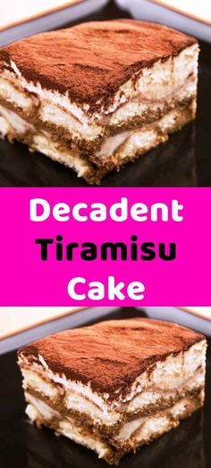 Decadent Tiramisu Cake Ingredient 2 1/2 cups strong black coffee, room temperature 1 1/2 tablespoons espresso powder 9 tablespoons dark rum 2 tablespoons vanilla extract 6 large egg yolks 2/3 cup sugar 1/4 teaspoon table salt 1 1/2lbs mascarpone cheese (chilled below room temperature) 3/4 cup heavy cream, cold 14oz hard ladyfingers (about 40-60 depending on size) 3 /12 tablespoons cocoa 1/4 cup semisweet or bittersweet chocolate Directions Stir together coffee, espresso powder, vanilla… Cupcake Recipes, Cupcake Cakes, Dessert Recipes, Cupcakes, Tiramisu Recipe, Tiramisu Cake, Yummy Treats, Delicious Desserts, Coffee Room