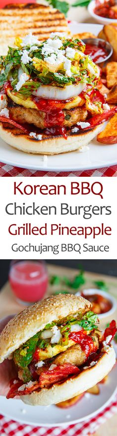 Korean BBQ Chicken Burgers with Grilled Pineapple and Gochujang BBQ Sauce