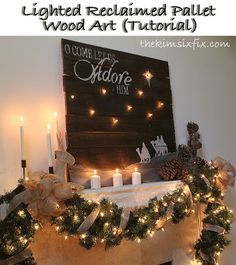"""Reclaimed Pallet Art """"Oh Come Let Us Adore Him"""" where the stars actually glow"""