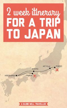 I'm about to jet off to this Asian country full of colourful temples, historic shrines, and perfectly manicured zen gardens. Here's my 2 week itinerary for a trip to Japan! / A Globe Well Travelled Japan Travel Tips, Travel Tours, Asia Travel, Travel Plan, Travel Guide, Zen Gardens, Courtyard Gardens, Cottage Gardens, Small Gardens