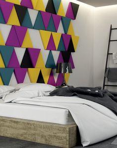 Miękkie i kolorowe panele Fluffo w sypialni. decoracja.pl | Materiały dekoracyjne do wnętrz