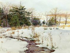 Vespers is a signed and numbered limited edition offset lithograph of a watercolor by David Armstrong. Image size is 17 x 23 . Snow Scenes, Winter Scenes, David Armstrong, Duck Art, Art Aquarelle, Winter Time, Evergreen, Color Inspiration, Sculpture Art