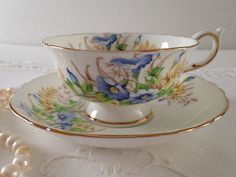Paragon China Blue Morning Glory Tea Cup and Saucer Set by TheEclecticAvenue