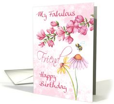 Fabulous Friend, Watercolor Floral Garden Scene With... (1370786)