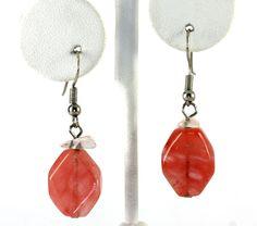 Sterling Silver Carnelian Gemstone and White Quartz Drop Dangle Earrings #DropDangle