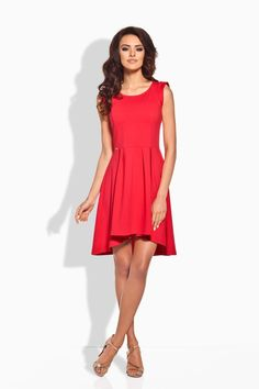 Stylish Red Dipped Hem Coctail Dress LAVELIQ (Made in Poland)
