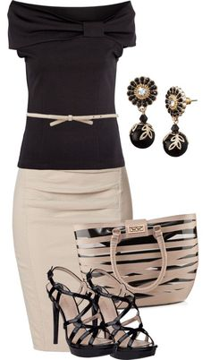 """Beige Pencil skirt and black off the shoulder top"" by missyalexandra on Polyvore"
