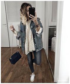 WEBSTA @ audreylombard - La tenue jean et dentelle en entier! J'ai mis tous les…