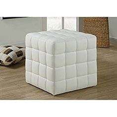 An instant classic, this square ottoman from Monarch Specialties fits any decor. Get bang-for-your-buck with this super convenient and strong cube ottoman. This compact ottoman is easily portable and the perfect footrest or seat for guests. Tufted Leather Ottoman, White Ottoman, Chair And Ottoman, Leather Chairs, Pouf Cuir, Cube Chair, Square Ottoman, Living Room Kitchen, Living Rooms