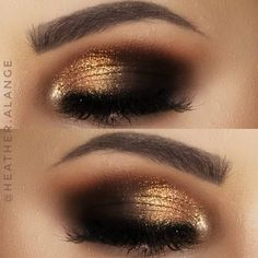 ulta beauty Lustrous Foil Eyeshadows gold black smokey eye Eye make up Black And Gold Eyeshadow, Gold Eyeshadow Looks, Black Smokey Eye Makeup, Foil Eyeshadow, Gold Smokey Eye, Gold Eye Makeup, Dramatic Eye Makeup, Eyeshadow Makeup, Gold And Brown Eye Makeup