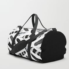 Frozen Feather - $68 @society6 #feathers #society6 #fashion #blackandwhite #travel #duffle #black #trend #bohemian #bag