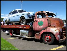 Vintage Drag Racer & Tow Vehicle by Vintage Roadside, via Flickr