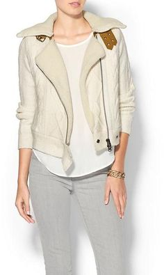 ON SALE, WAS: $425.00 NOW: $254.99 Twelfth Street By Cynthia Vincent Shearling Lined Moto Jacket      60% acrylic, 23% cotton, 10% nylon, 6% polyester, 1% spandex.     Dry clean.     Imported.