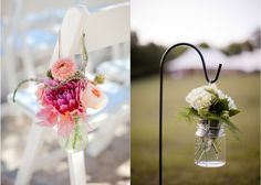 Love the hanging jar -- either with flowers or a candle inside