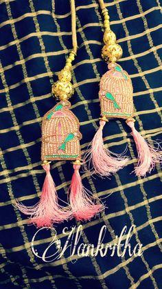 Latkan..... Cute hangings ❤️ Diy Earrings, Crochet Earrings, Rakhi Design, Saree Tassels, Stylish Blouse Design, Pakistani Bridal Wear, Diy Tassel, Tassel Keychain, Fabric Flowers