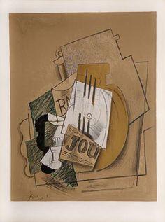 Papiers Collés Series, Bouteille de Vieux Marc, Verre et Journal   Medium: Lithograph