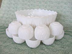 Milk Glass Punch Bowl Set. $55.00, via Etsy.