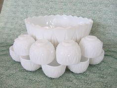 Milk Glass Punch Bowl Set