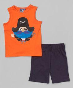 Love this Orange Pirate Tank & French Terry Bermuda Shorts - Toddler & Boys on #zulily! #zulilyfinds