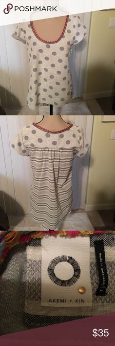 Akemi + Kin cute polka dot top size M NWT New with tags adorable polka dot top with striped back. Gray with colorful strip around neckline. Anthropologie Tops