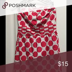 pink and white polkadot tube top dress The limited brand pink and white polkadot tube top dress The Limited Dresses Strapless
