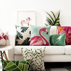 Flamingo & Tropical Pillow Covers - Assorted Prints & Designs