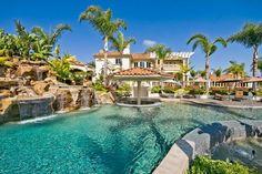 backyard oasis ideas amazing swimming pool waterfall palm trees pool bar