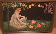 MARYGOLD PRINT -  FAIRY PRINCESS & DANCING LOVE FAIRES  - 1920s ART DECO…