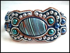 Teal,Silver,Navy,Pearl,Ultra Suede,Peyote Beaded Soutache Bracelet