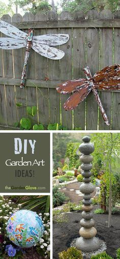Great DIY Garden Art Ideas!  LOVE the stacked stones--Use a masonry bit and drill through each stone, and then place a piece of rebar into the ground to slide the stones onto.  Brilliant!