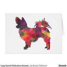 Long-haired Chihuahua Geometric Pattern Silhouette Card