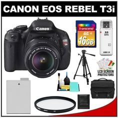 Canon EOS Rebel T3i 18.0 MP Digital SLR Camera Body & EF-S 18-135mm IS Lens with 16GB Card + Battery + Case + Filter + Tripod + Cleaning & Accessory Kit by Canon. $849.95. Kit includes:♦ 1) Canon EOS Rebel T3i Digital SLR Camera Body & EF-S 18-135mm IS Lens♦ 2) Transcend 16GB SecureDigital Class 10 (SDHC) Ultra-High-Speed Card♦ 3) Spare LP-E8 Battery for Canon♦ 4) Vivitar 67mm UV Glass Filter♦ 5) Precision Design 1000 Deluxe Digital SLR System Camera Case