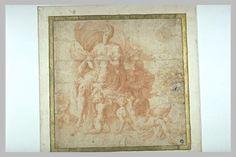 Le Primatice: (inspiré par Tibaldi Pellegrino) Femme drapée assise entourée d'enfants lui présentant la Couronne d'épines. Le Louvre