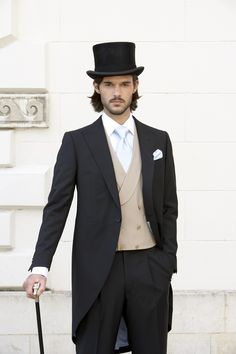 Chapter 15 - Morning Suit - Black with waist coat (should be more yellow than tan, and lose the hat and cane)