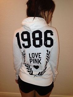 Victoria Secret Pink ♥ Hoodie Bling White hoodie Sequin ZIPPERED Limited S