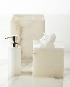 Alabaster Vanity Accessories by Kassatex at Horchow. Alabaster Jar, Hamptons Decor, Bathroom Accessories Luxury, Vanity Box, Luxury Bath, Coastal Decor, Eclectic Decor, Neiman Marcus, Well Dressed