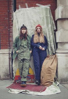Nigel Cabourn   Girls in overalls   Work wear   Green and navy   Hats   @andwhatelse  Womenswear