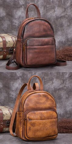 Ladies Genuine Leather Small Backpack Purse Cool Backpacks for Women - Brown fcdd39a37ebf4