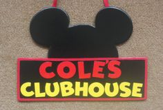 Micky Mouse Clubhouse Sign - Minnie Mouse - Wood Door Hanger - Birthday Party Decorations - Welcome Sign