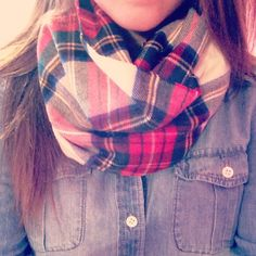 ok I usually don't care for scarves but the plaid scarf really compliments the denim shirt
