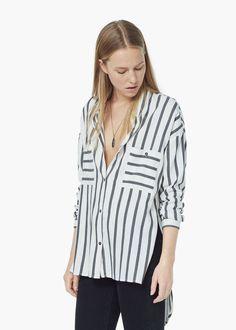 Camisa algodón rayas - Camisas de Mujer | MANGO