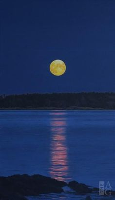 Ron Parker - Yellow Moon on the Rise - oil on canvas - 24 x 14