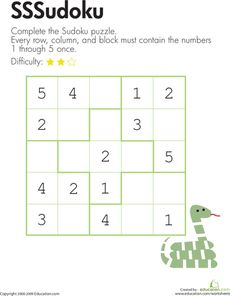 Here's a 5x5 sudoku puzzle where the numbers 1, 2, 3, 4, and 5 must appear once and only once in each row, column, and block.