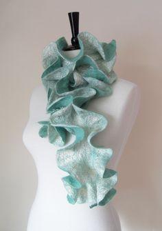 Felted Scarf Ruffle Collar Felt Ruffle Scarf Neck Warmer Teal Green Aqua Seafoam Super Soft Fashion Scarves - Gift for her under 45 on Etsy, $48.29